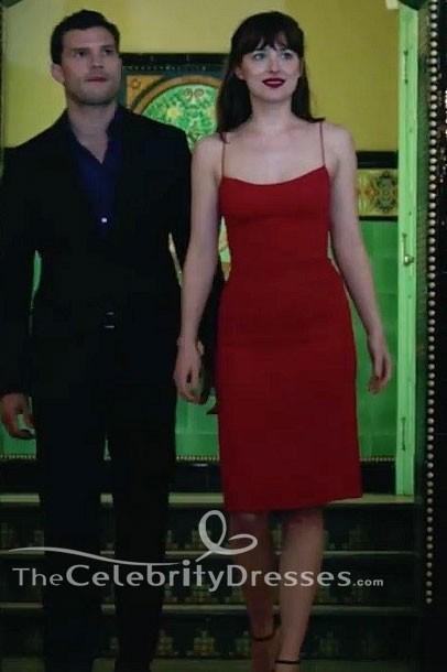 Dakota Johnson Fifty Shades Darker Engagement Dress Red