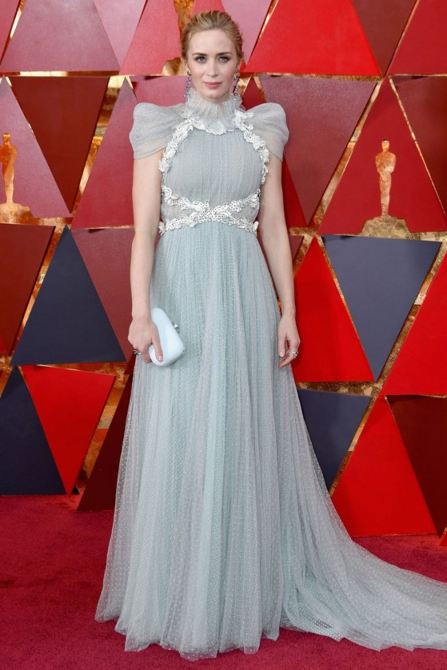 Emily Blunt 2018 Oscars Cap Sleeves Tulle Formal Dress Evening Gown ...