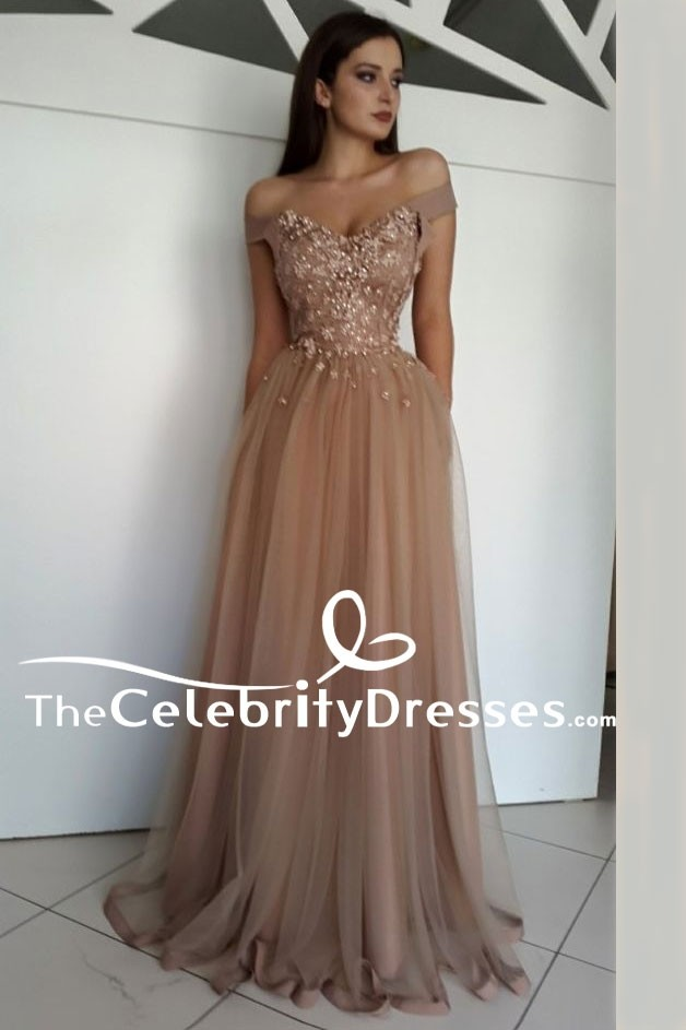 c023da8761d Floor Length Off Shoulder A-Line Beaded Formal Dress Evening Gown TCDFD7973  Zoom · Floor ...