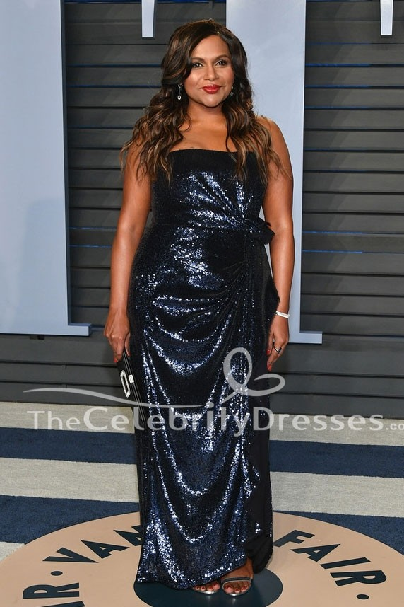 Mindy Kaling Dark Navy Sequins Evening Gown 2018 Vanity Fair Oscar Party Dress Thecelebritydresses