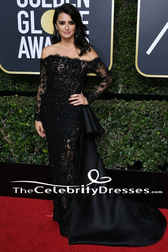 ba6199d680 Penelope Curz Black Evening Dress 2018 Golden Globe Awards Red Carpet Gown  TCD7661
