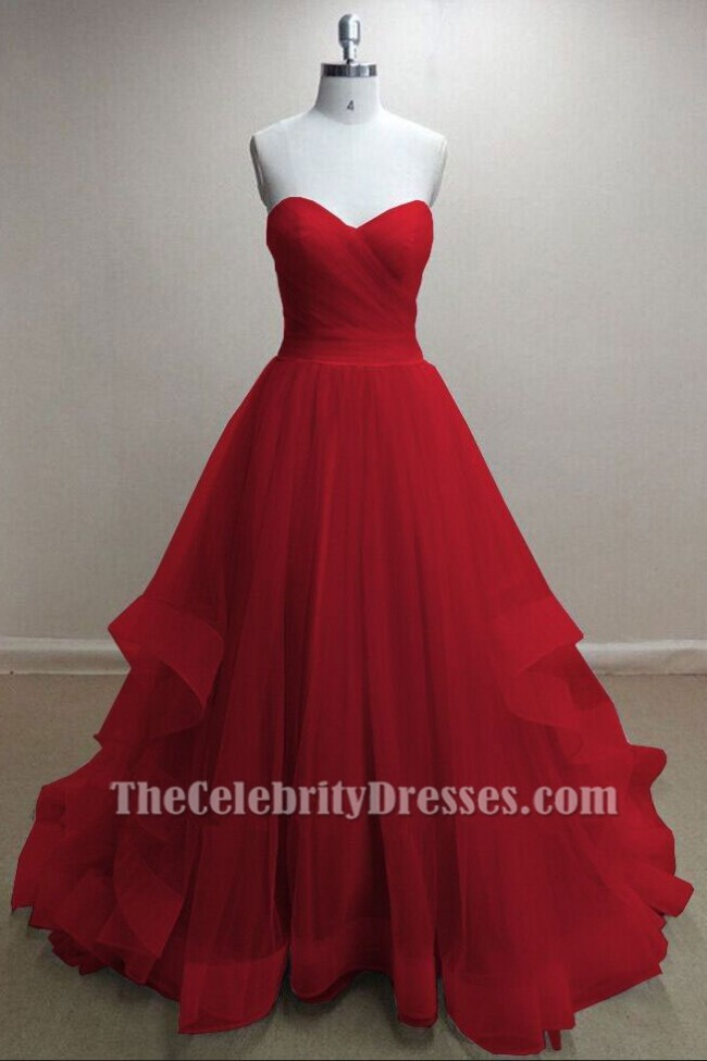 8e8afdddee8 Gorgeous Red Tulle Sweetheart Strapless Ball Gown Prom Dresses Zoom ·  Gorgeous ...