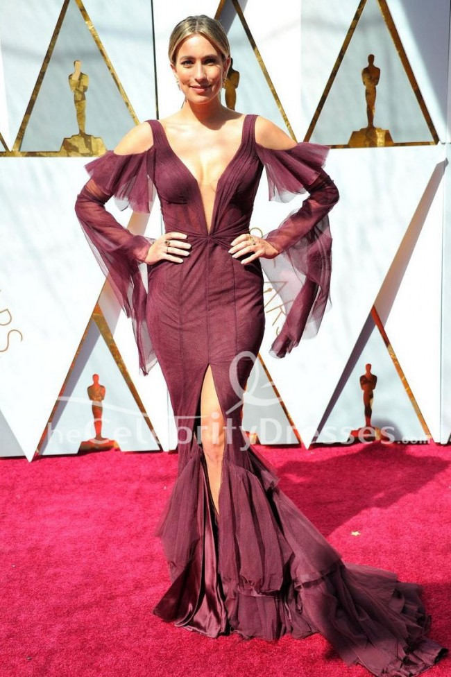 Renee bargh sexy evening dress 90th annual academy awards red carpet celebrity gown - Red carpet oscar dresses ...