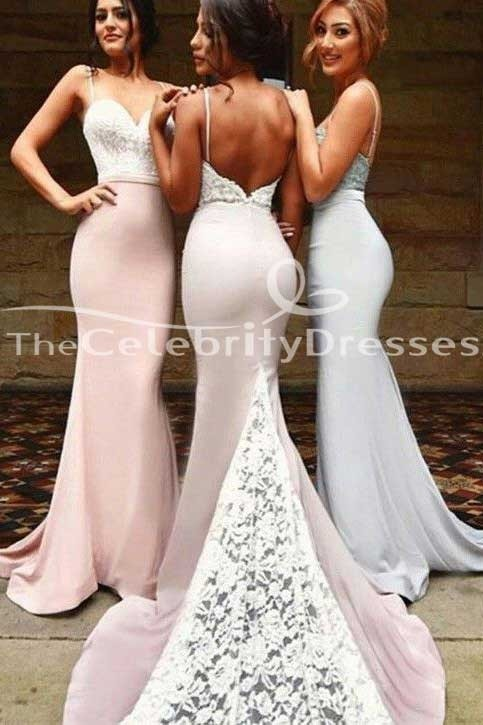 Sexy Backless Mermaid Bridesmaid Dresses Evening Prom Gown