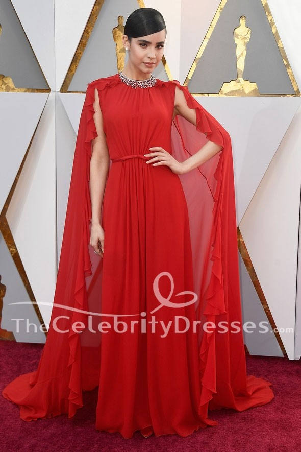 Sofia Carson 2018 Oscars Red Carpet Formal Dress Celebrity Evening