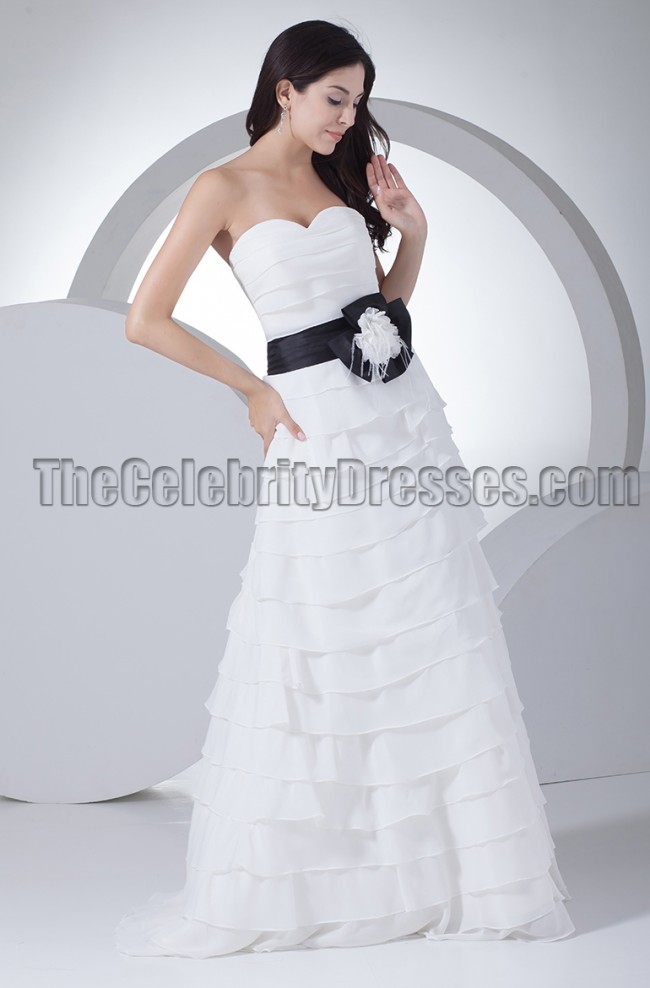 Gorgeous A Line Strapless Wedding Dresses With A Black Belt