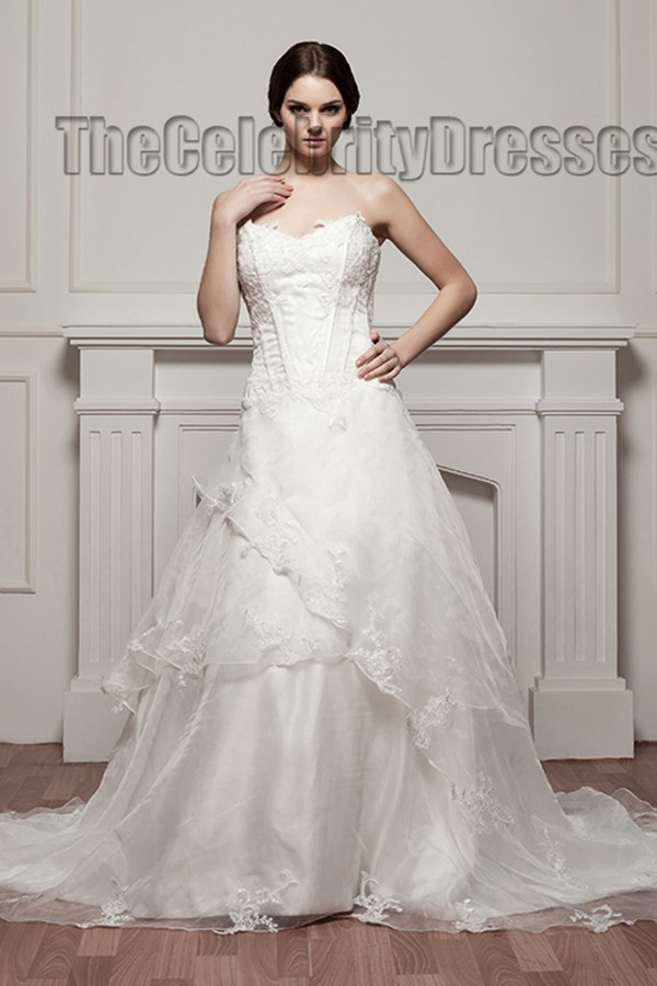 A-Line Strapless Chapel Train Wedding Dress Bridal Gown - Strapless ...