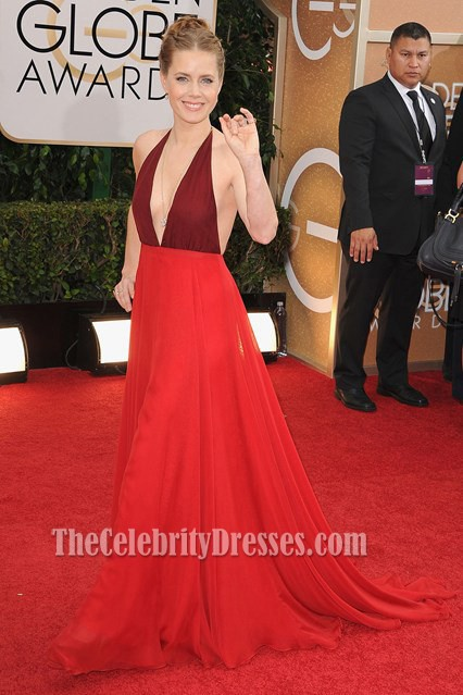 Amy Adams Backless Prom Dress 2014 Golden Globe Awards Red