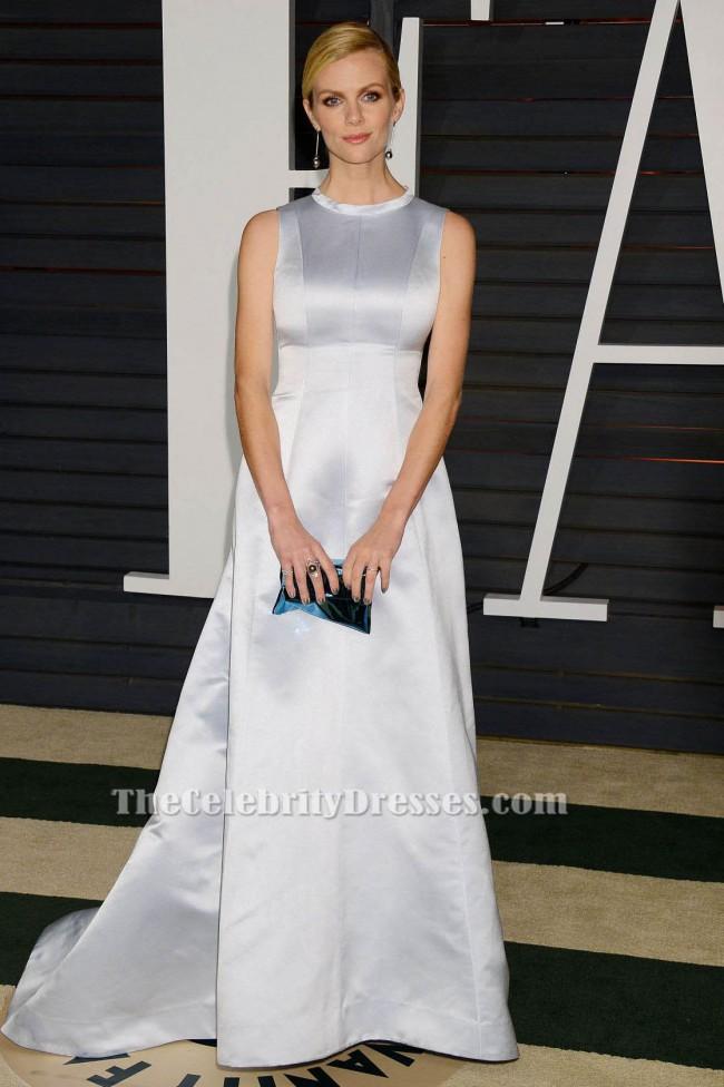 Brooklyn Decker Silver Sleeveless Formal Dress Vanity Fair Oscar Party 2015 Thecelebritydresses