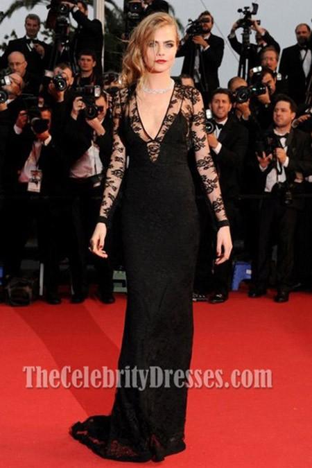 Cara Delevingne Black Evening Dress Cannes Film Festival
