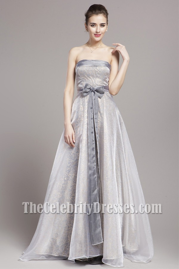 Celebrity Inspired Silver A Line Formal Dress Prom Gown