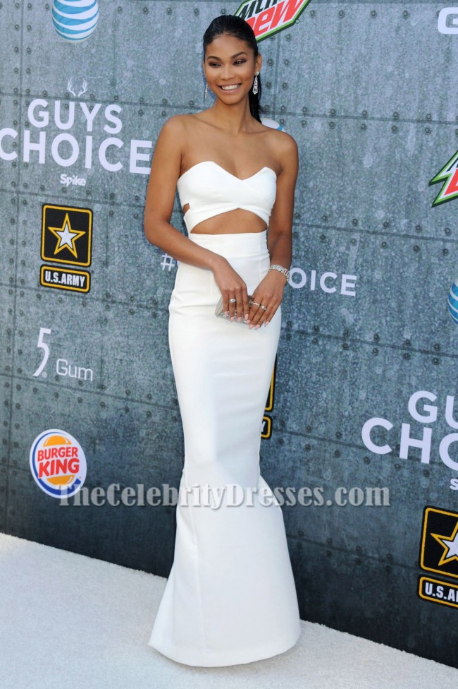Chanel Iman Ivory Cut Out Evening Dress 2015 Spike TV\' Guys Choice ...