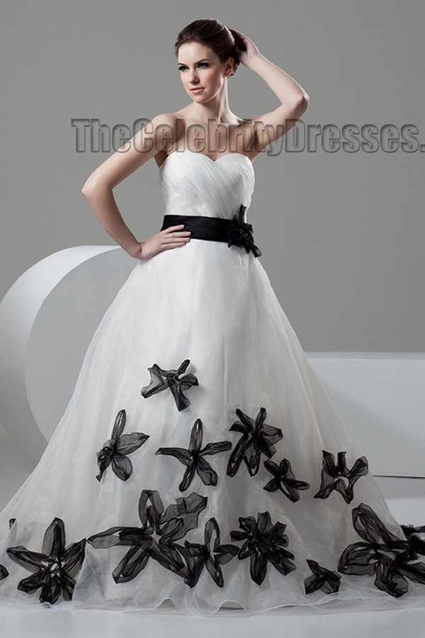 Black Wedding Dress With Train : Train a line sweetheart strapless wedding dress with black details