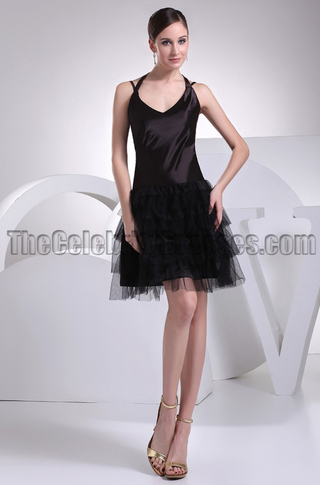 cute halter aline little black dress party dresses