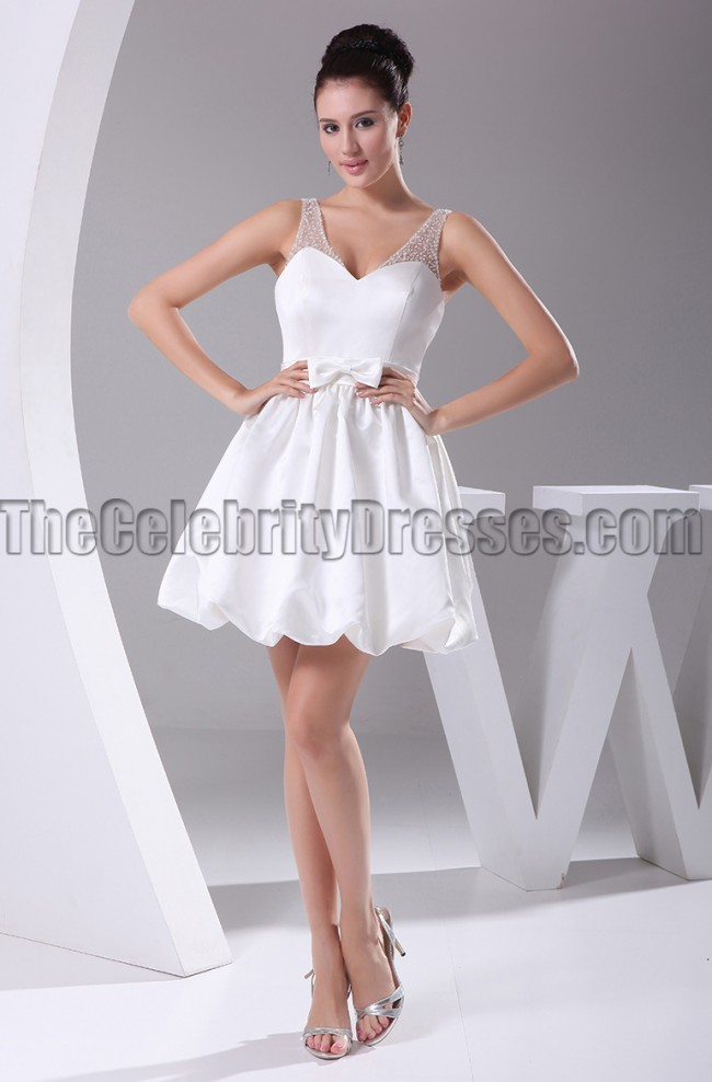 Cute Mini White A-Line V-Neck Party Homecoming Dresses ...