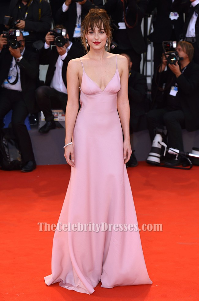 Dakota Johnson Pink Evening Dress Black Mass Venice Film