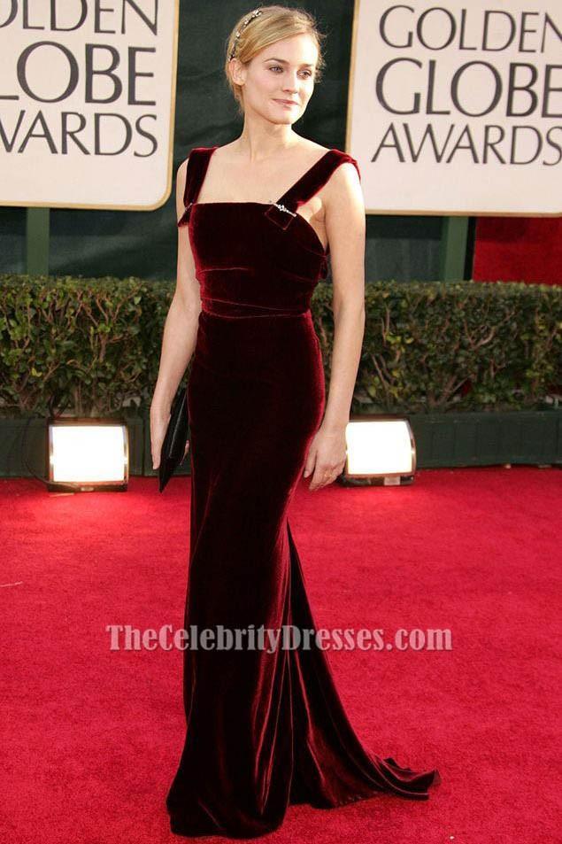 aaca32f9ccf Diane Kruger Red Velvet Formal Dress 63rd Annual Golden Globe Awards TCD6129