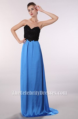 Discount Black And Blue Strapless Prom Gown Evening