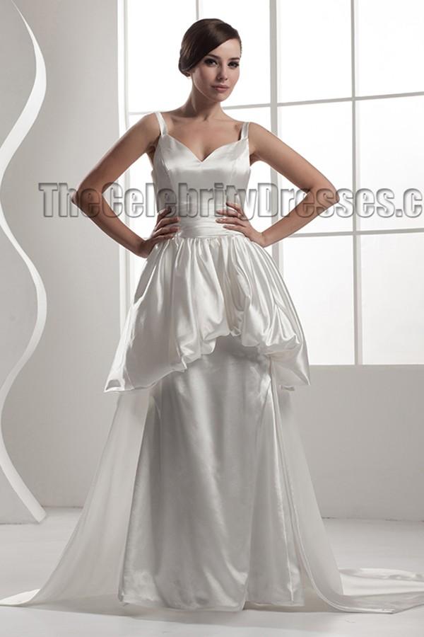 Elegant Chapel Train A Line Silk Like Satin Wedding Dress