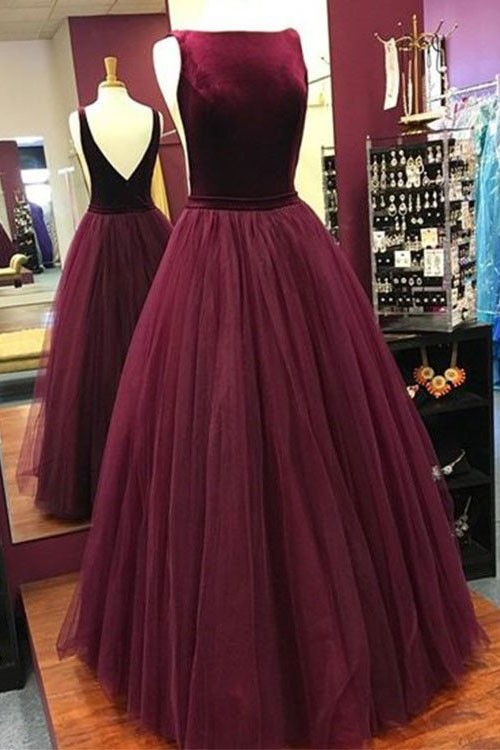 Elegant Low Back Burgundy Sleeveless Prom Dress Military Ball Gowns ...