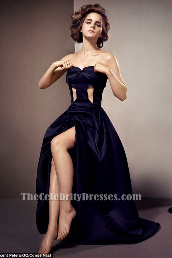 Emma Watson Dark Navy Cut Out Prom Dress for gq magazine ...
