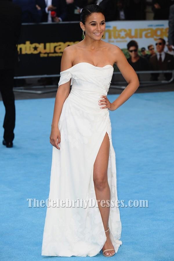 Emmanuelle Chriqui White Evening Dress Entourage Premiere ...