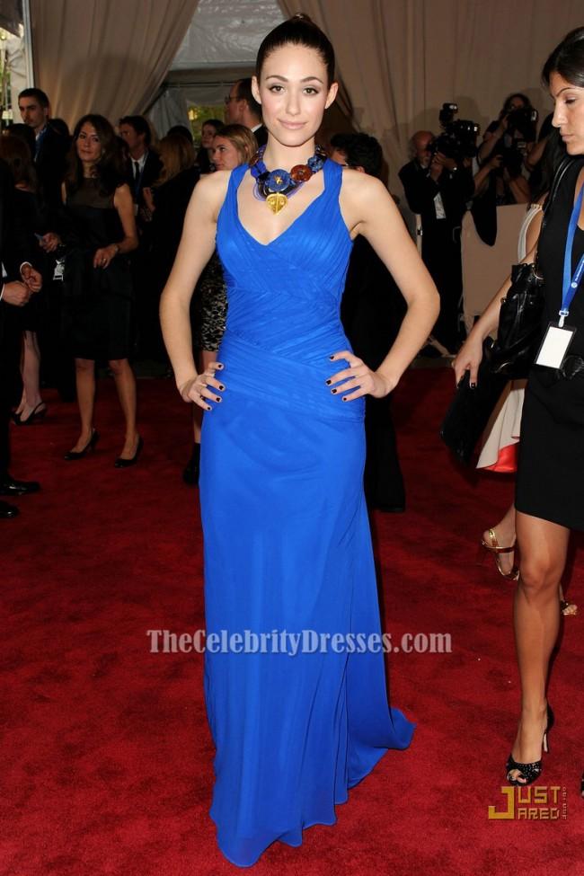 Emmy Rossum Royal Blue Evening Dress 2010 MET Ball Red