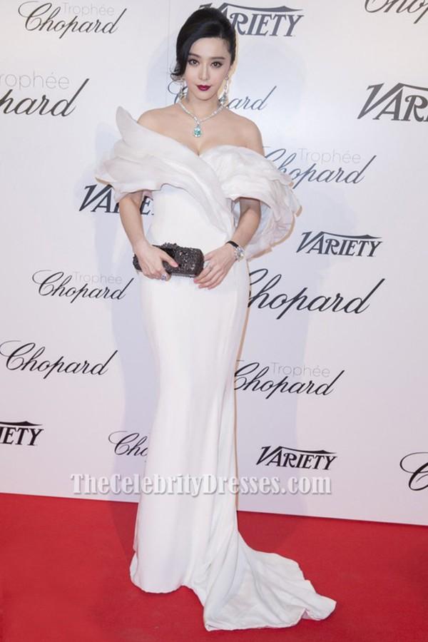 Fan Bingbing White Off-the-Shoulder Evening Dress 2015 cannes film festival