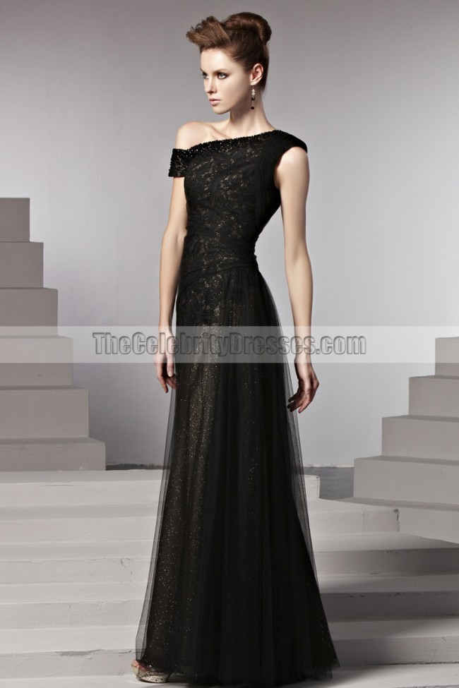 Floor Length Black Formal Dress Evening Prom Gown