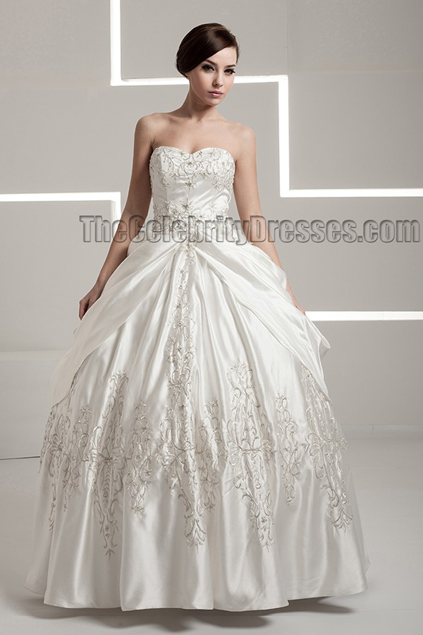 Floor Length Embroidered Strapless Sweetheart Ball Gown Wedding ...