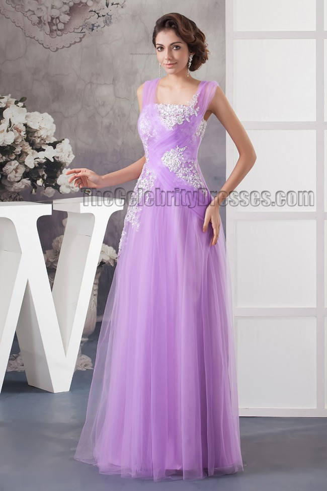 Floor Length Lilac Tulle Embroidered Prom Evening Dresses ...