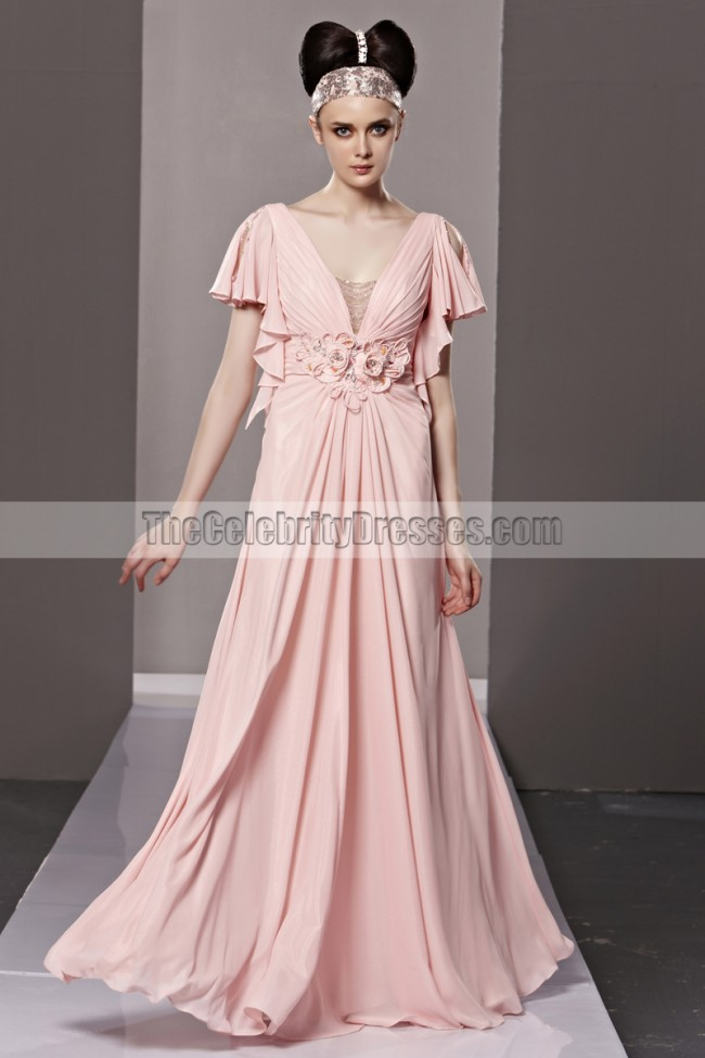 234307a67f Floor Length Pink Low Cut Formal Dress Evening Prom Gown Zoom · Floor ...