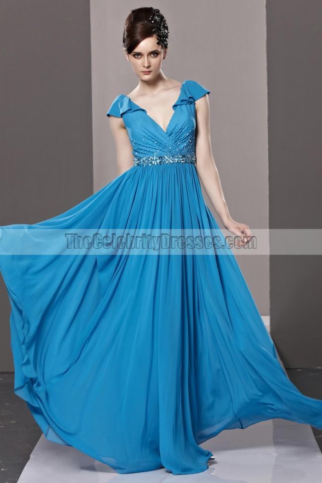Floor Length Royal Blue Low Back V Neck Evening Prom