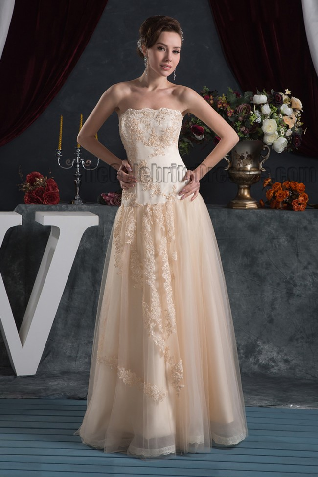 Strapless A Line Floor Length Embroidered Evening Prom