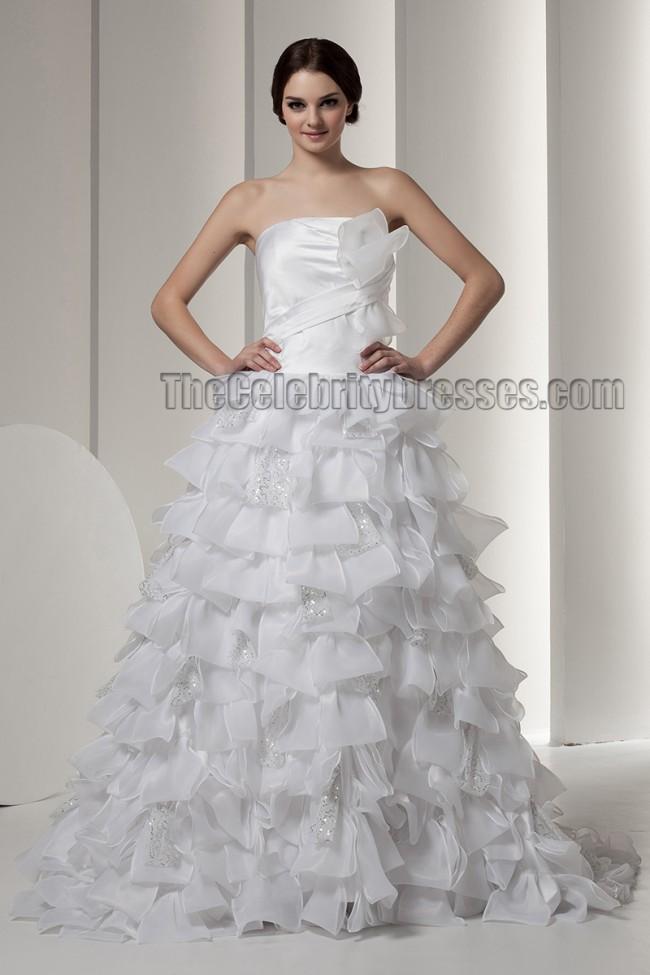 Gorgeous strapless a line ruffles wedding dresses for A line ruffle wedding dress