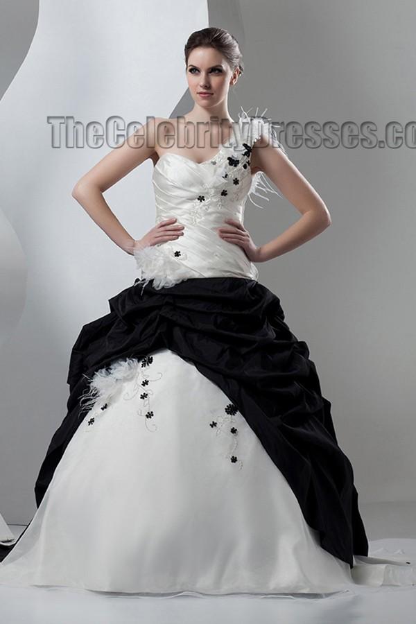 Ivory And Black One Shoulder A Line Wedding Dresses