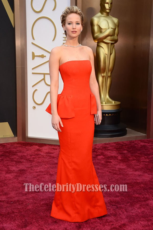jennifer lawrence orange red strapless evening dress 2014