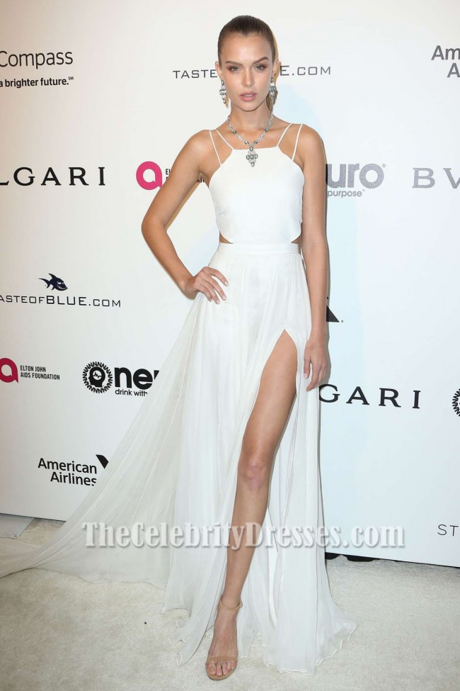 Josephine Skriver White Evening Prom Dress Elton John AIDS ...
