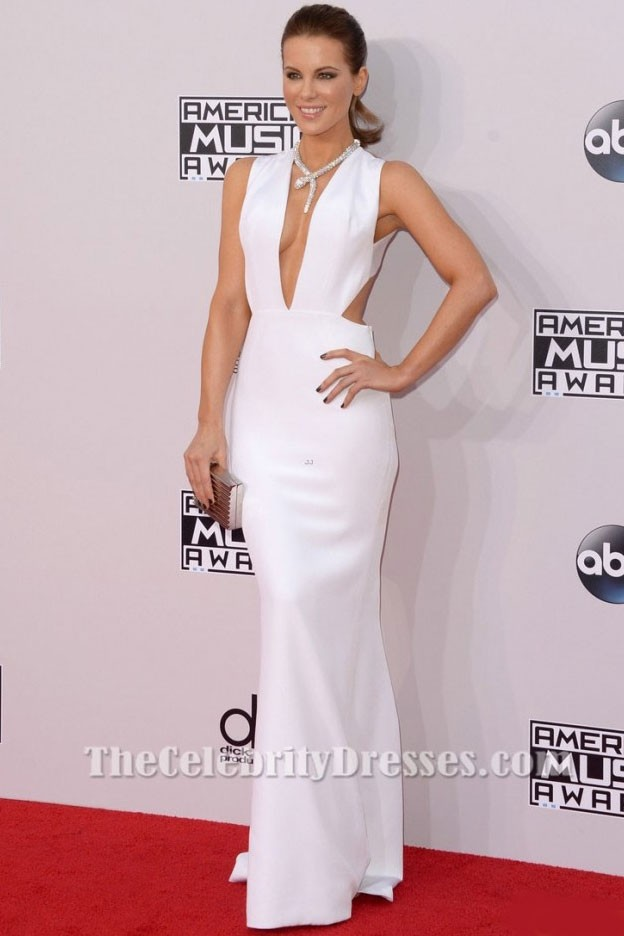 75006d7528 Kate Beckinsale Sexy White Evening Gown 2014 American Music Awards ...
