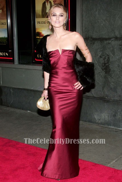 Keira Knightley Strapless Burgundy Evening Dress Premiere