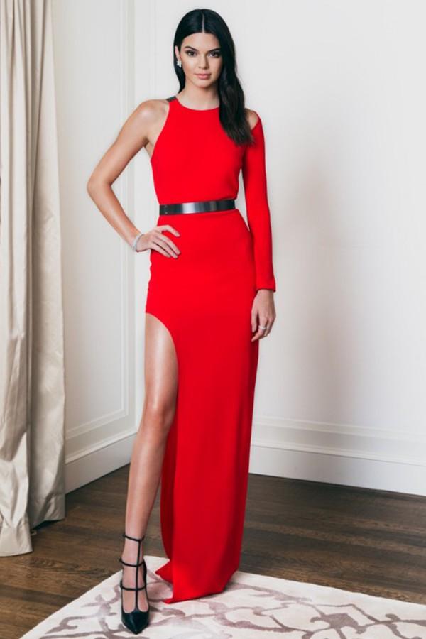 Kendall Jenner S One Sleeve Red High Slit Dress Fragrance