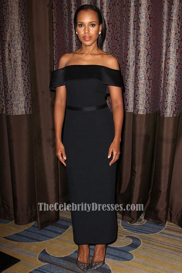 Kerry Washington Black Evening Dress Aclu Socal Hosts 2017 Bill Of Rights Dinner Tcd6394