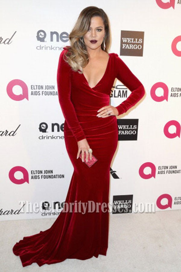 Khlo Kardashian Burgundy Velvet Evening Dress Elton Johns Oscars