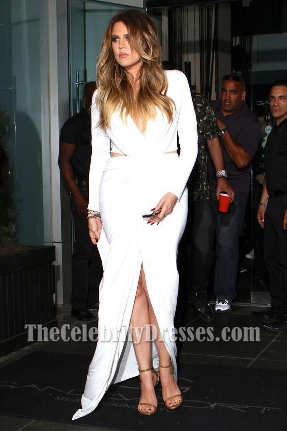 Khloe Kardashian Sexy Cut Out Long Sleeve Evening Dress 30th Birthday Dinner