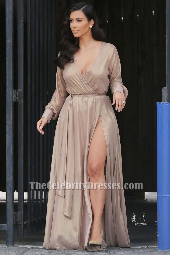 Kim Kardashian Champagne Long Sleeve Chiffon Wrap Evening Formal DRESS