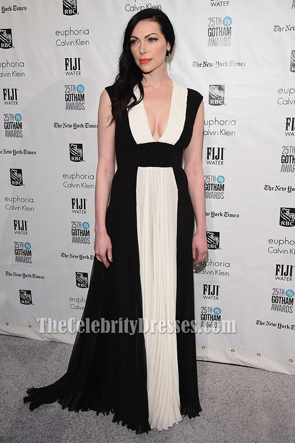 0fe6c518d6847 Laura Prepon White And Black Formal Dress 25th IFP Gotham Independent Film  Awards TCD6491