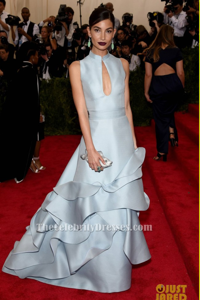 Lily Aldridge A Line Formal Dress 2015 Met Gala Red Carpet