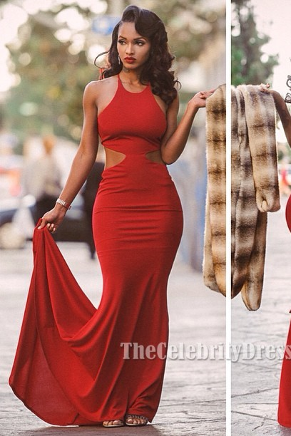 Lola Monroe Sexy Red Backless Prom Gown Evening Dress