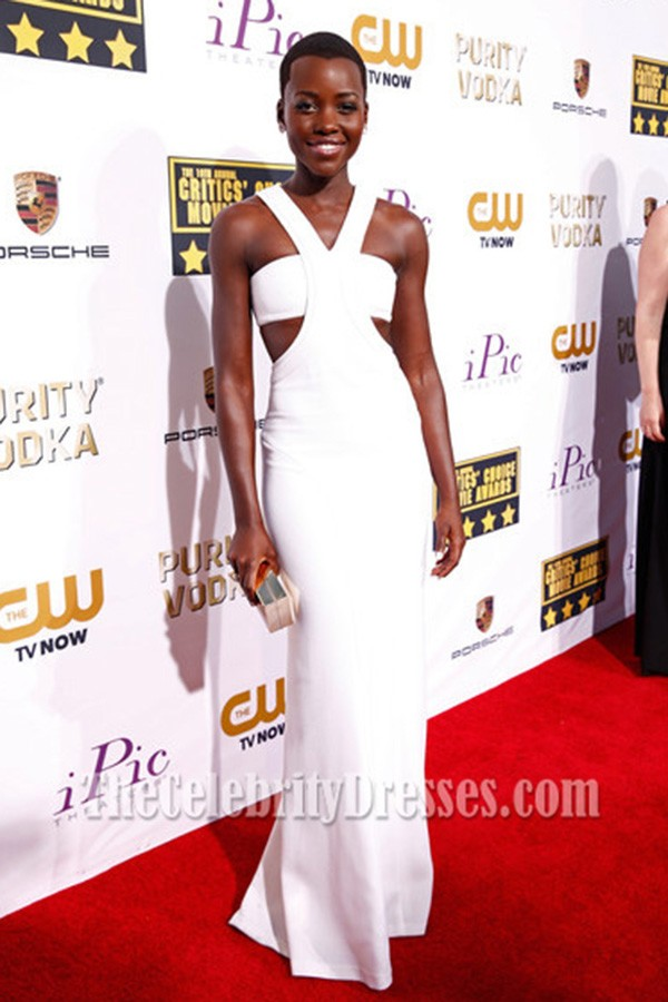 Lupita Nyong O White Prom Dress 2014 Critics Choice Movie