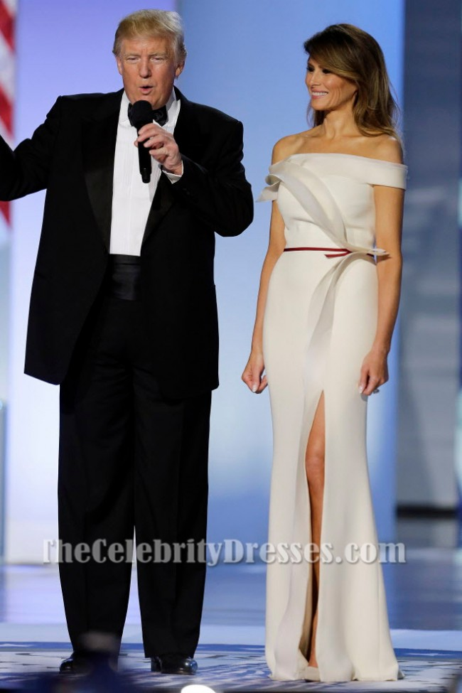 Melania Trump Elegant White Off The Shoulder Formal Dress Inaugural Ball Gown Tcd7122
